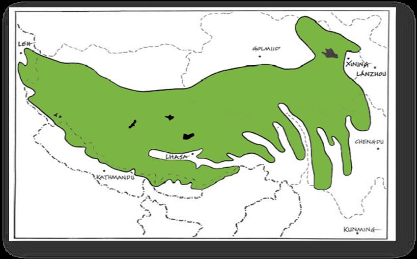 Figure 2: Map of Tibetan Nomadic Pastoral Area, Image Source: D.J. Miller