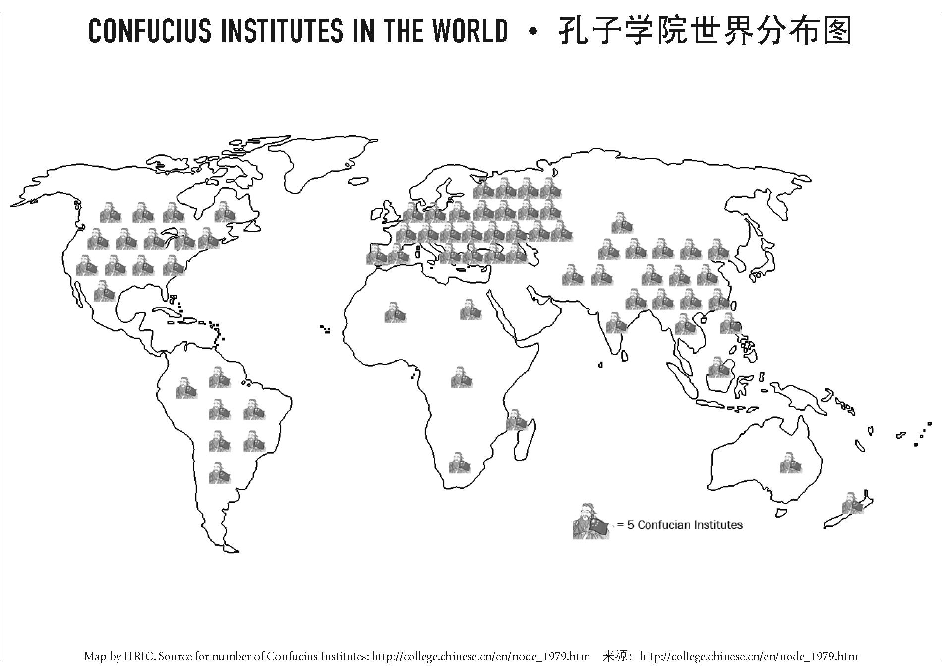 map of Confucius Institutes in world