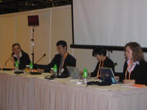 Carole Samdup, Han Dongfang, Sharon Hom and Elisabeth Wickeri at WTO meeting, Hong Kong, December 2005.