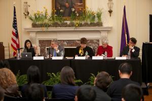Sharon, Hom, José E. Alvarez, Felice Gaer, and Sophie Richardson © NYU Photo Bureau: Hollenshead