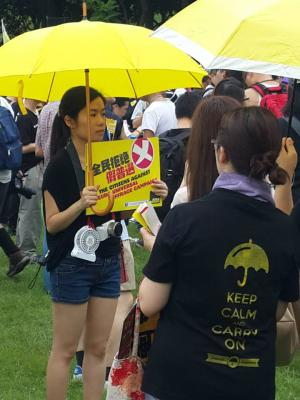 """Protesters at Victoria Park before the """"The Citizens Against Pseudo-Universal Suffrage"""" march, from Victoria Park to the Legislative Council, Hong Kong, June 14, 2015. HRIC photo."""