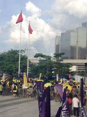"""Protesters assembling outside LegCo buildings, at the end of the """"The Citizens Against Pseudo-Universal Suffrage"""" march, Hong Kong, June 14, 2015. HRIC photo."""