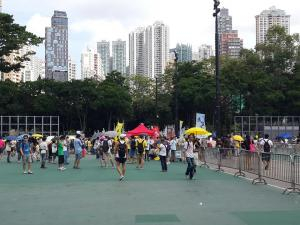 Protesters arriving in Victoria Park before the Democracy march organized by Civil Human Rights Front, from Victoria Park to Tim Mei Avenue, Hong Kong, July 1, 2015. HRIC photo.