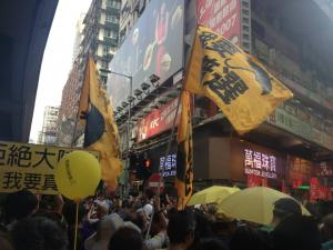 """Participants hold flags: """"I want genuine universal suffrage,"""" during the democracy march organized by Civil Human Rights Front, Hong Kong, July 1, 2015. HRIC photo."""