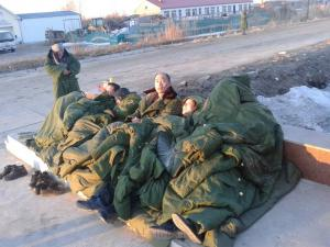 The hunger strikers camped out in front of the Qixing Detention Center in Jiangsanjiang, Heilongjiang, March 26, 2014.