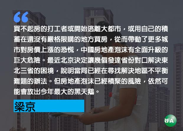 【梁京评论】中国的房地产泡沫已近临界点(法新社图/粤语部制图)
