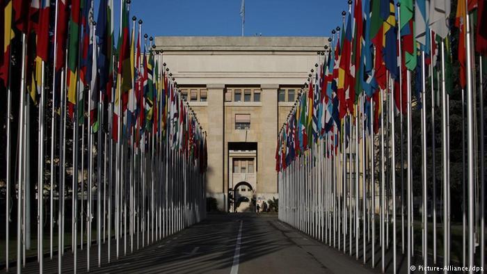 Das Eingangstor der Vereinten Nationen UNO in Genf (Picture-Alliance/dpa)