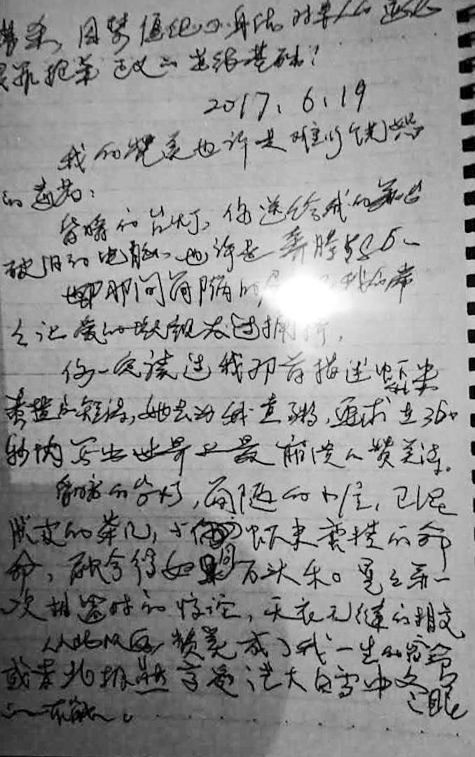 2017年7月5日,已被確診肝癌終末期的劉曉波應劉霞好友之邀,為劉霞即將出版的攝影集《我陪伴劉曉波的方式》親筆寫下的序言,很可能是劉曉波留下最後的文章。當時劉曉波身體虛弱,字跡不易辨認。